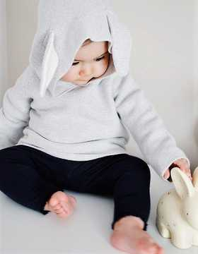 Model Shot Unisex Bunny Ear Knitted Hoodie